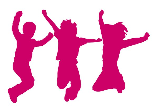 Enfants saut rose