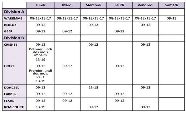 Horaires Police